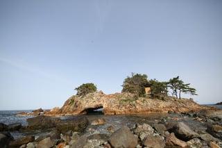 【前浜地区】佐渡市水津 「赤亀さん」の名で親しまれる赤亀岩