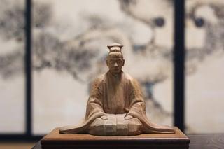 【国中地区】正法寺に残る木彫の世阿弥像