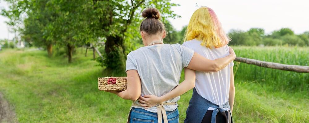 Kaksi nuorta naista mansikkakorin kanssa, kuvituskuva