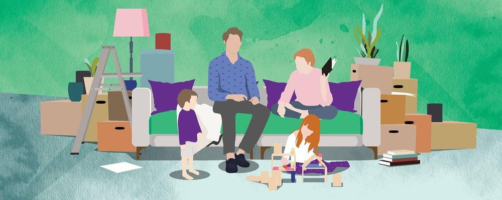 Perhe ja muuttolaatikot, kuvituskuva.