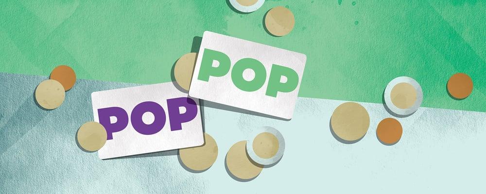 Kuvituskuva, kaksi POP Visa -korttia