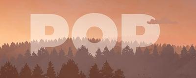 POP logo ja punertava metsä, kuvituskuva.