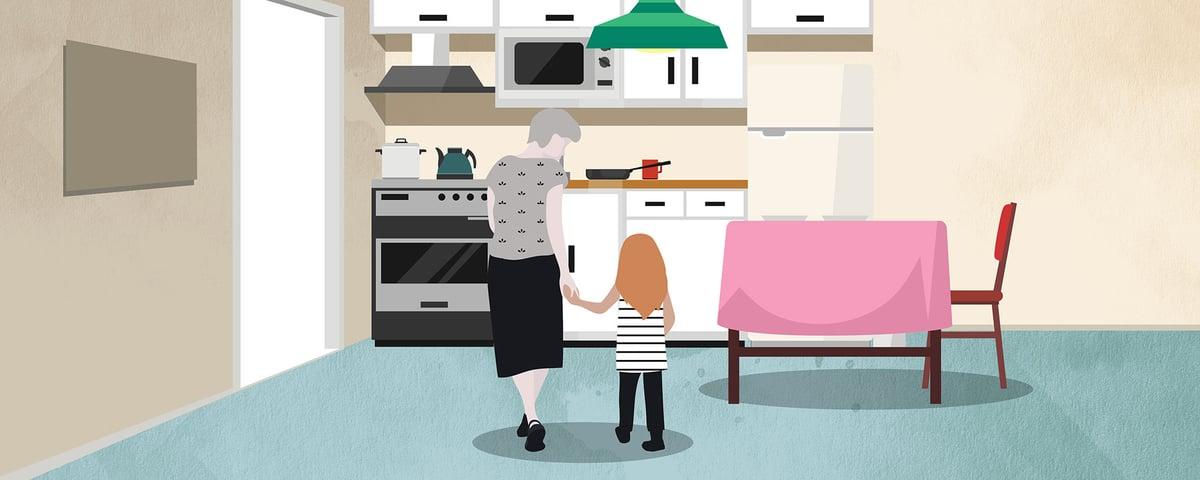 Äiti ja lapsi keittiössä, kuvituskuva.
