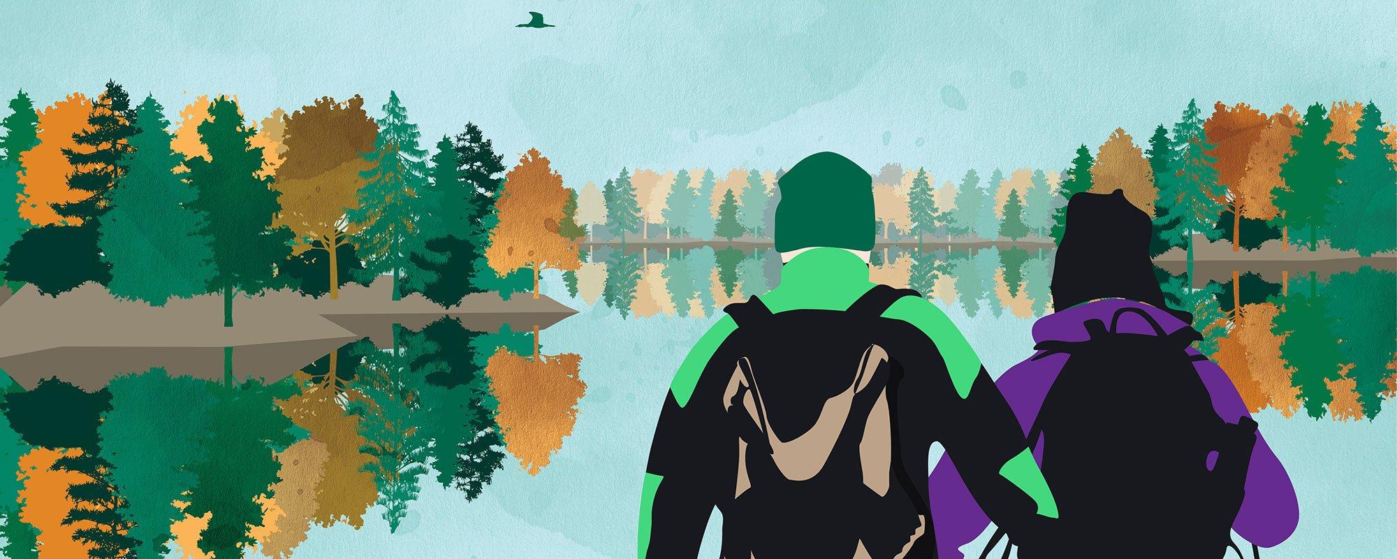 Pariskunta järvellä, kuvituskuva.