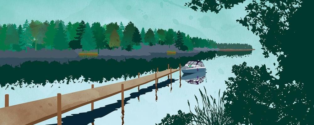 Vene laiturilla, kuvituskuva.