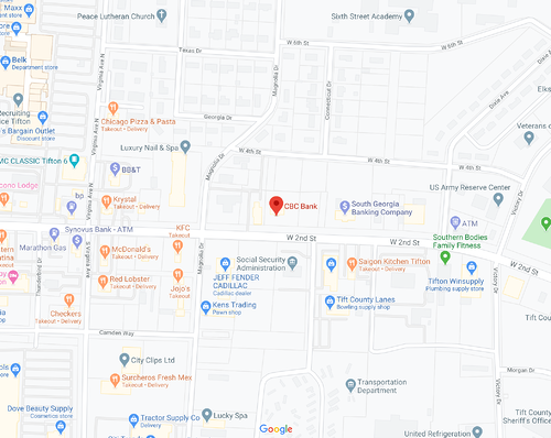 Map Image of our Tifton location.