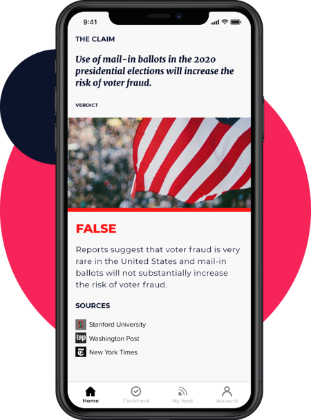 An image of a mobile phone displaying a fact check in the Logically app