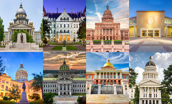 a four by four grid of state capitals