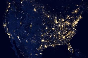 satellite night view of USA