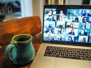 Laptop Zoom meeting with mug