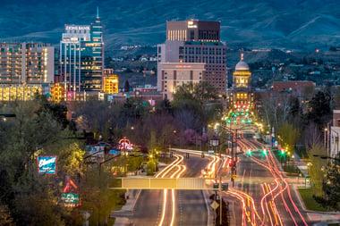 Night time view of Boise, Idaho
