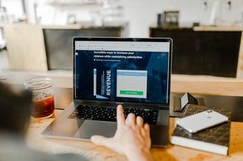 Business professional analyzing laptop screen
