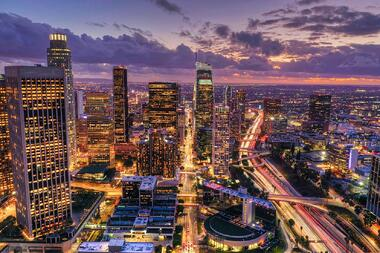 Nighttime view of downtown Los Angeles, California