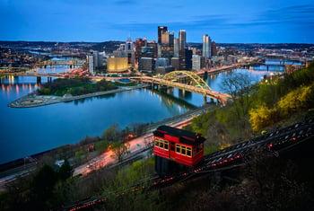 Pittsburgh, PA city skyline - night