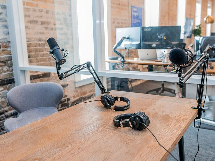 Headphones and mic in studio for Dakota Live call
