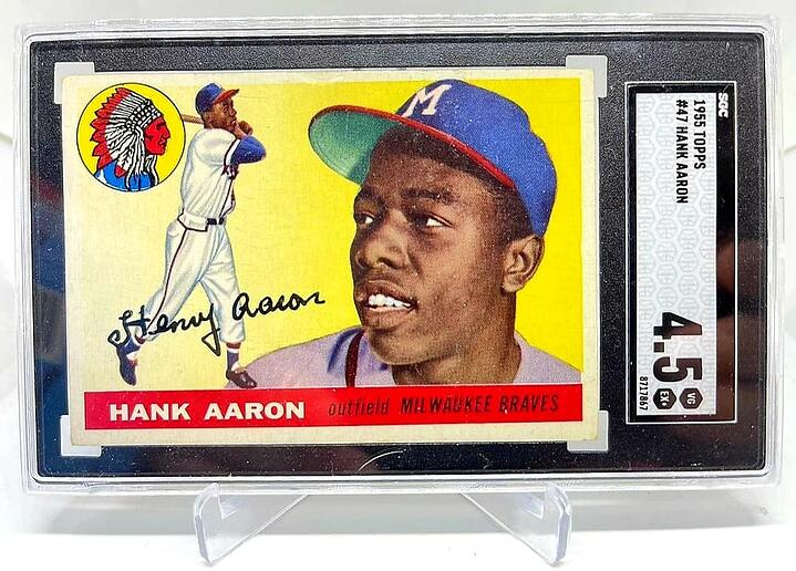 Win a FREE 1955 Topps Hank Aaron SGC 4.5 for Your Kid