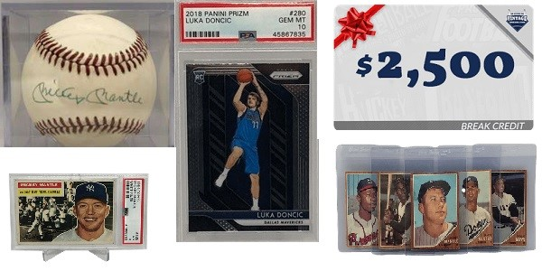 Win over 10k in prizes like a PSA 10 Prizm LukaDončić Rookie, Mickey Mantle Signed Baseball, Over $4,000 in Break Credit and MORE in Our SPRING BREAKS Event!