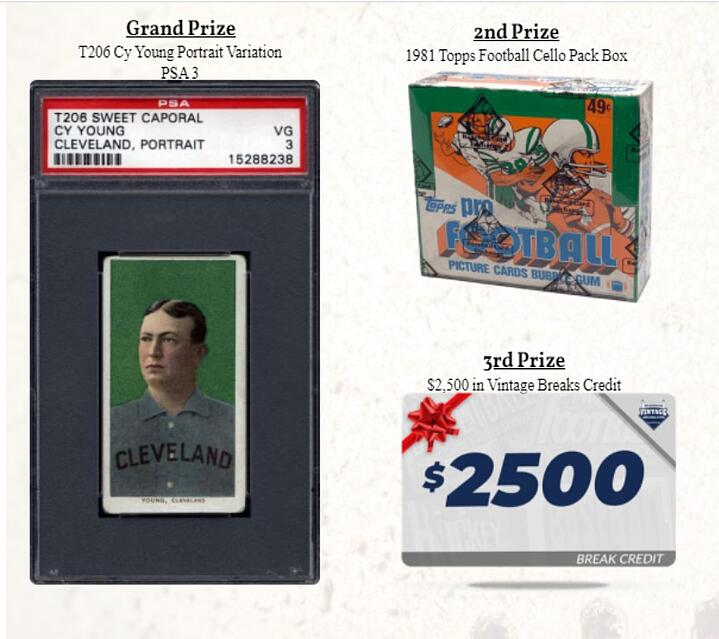 Win a Cy Young T-206, Zion Auto, and Over $8,000 in Break Credit in our September Event