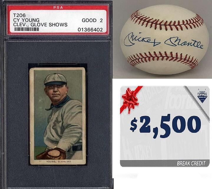 Win a T-206 Cy Young, Mickey Mantle Signed Baseball, Over $3,000 Break Credit and More in Our GOLD EDITION EVENT