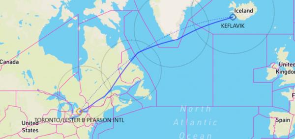 Keflavik-to-Toronto-flight-route