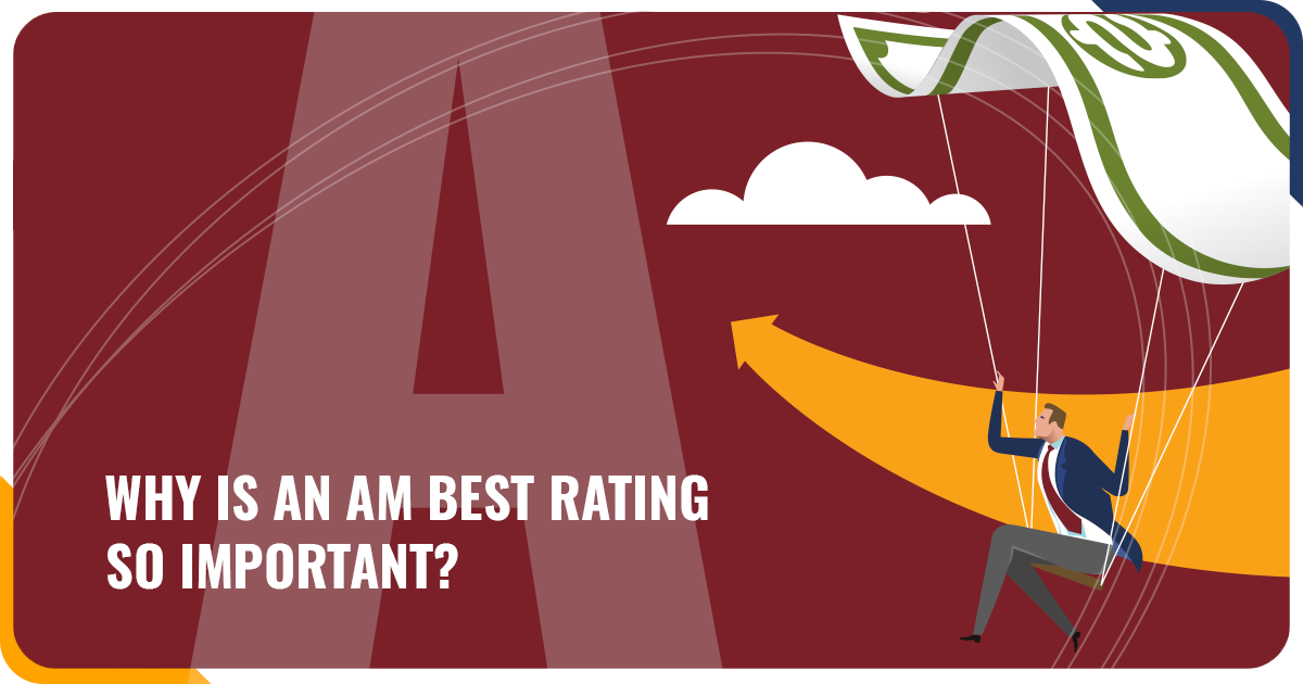 Illustration of a business man paragliding toward a large A Rating