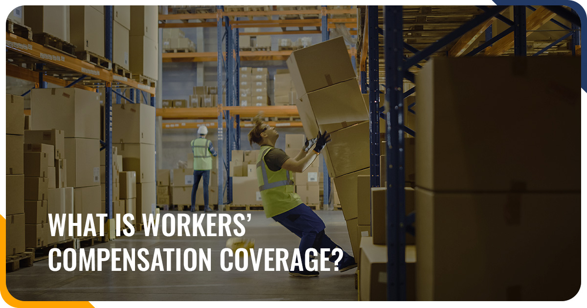 Warehouse worker leaning backwards with boxes about to fall on him, demonstrating the need for workers' comp