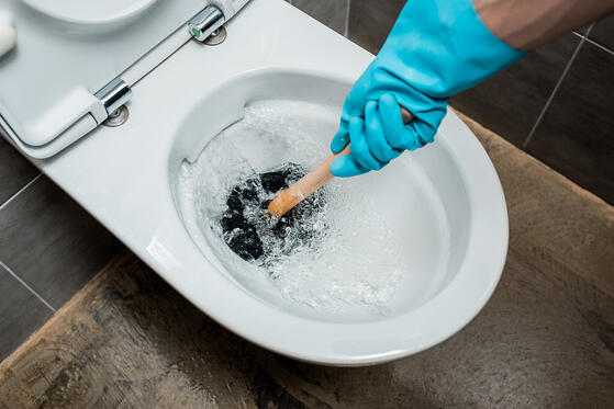 using plunger in toilet