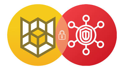 Circular Cloud Custodian and AWS Security Hub logos intersected like a Venn diagram