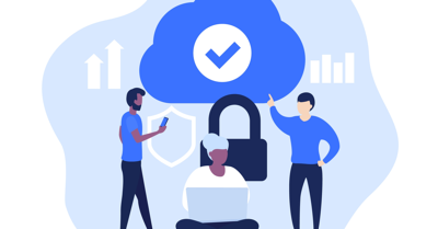 An illustration of a group of people discussing cloud safety