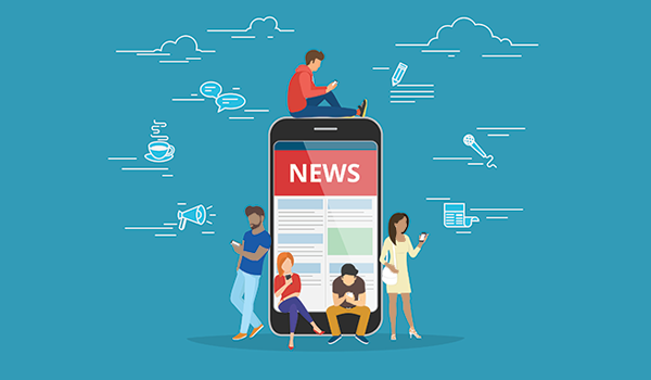 Blue background with illustrated people around large smartphone with a header that says NEWS