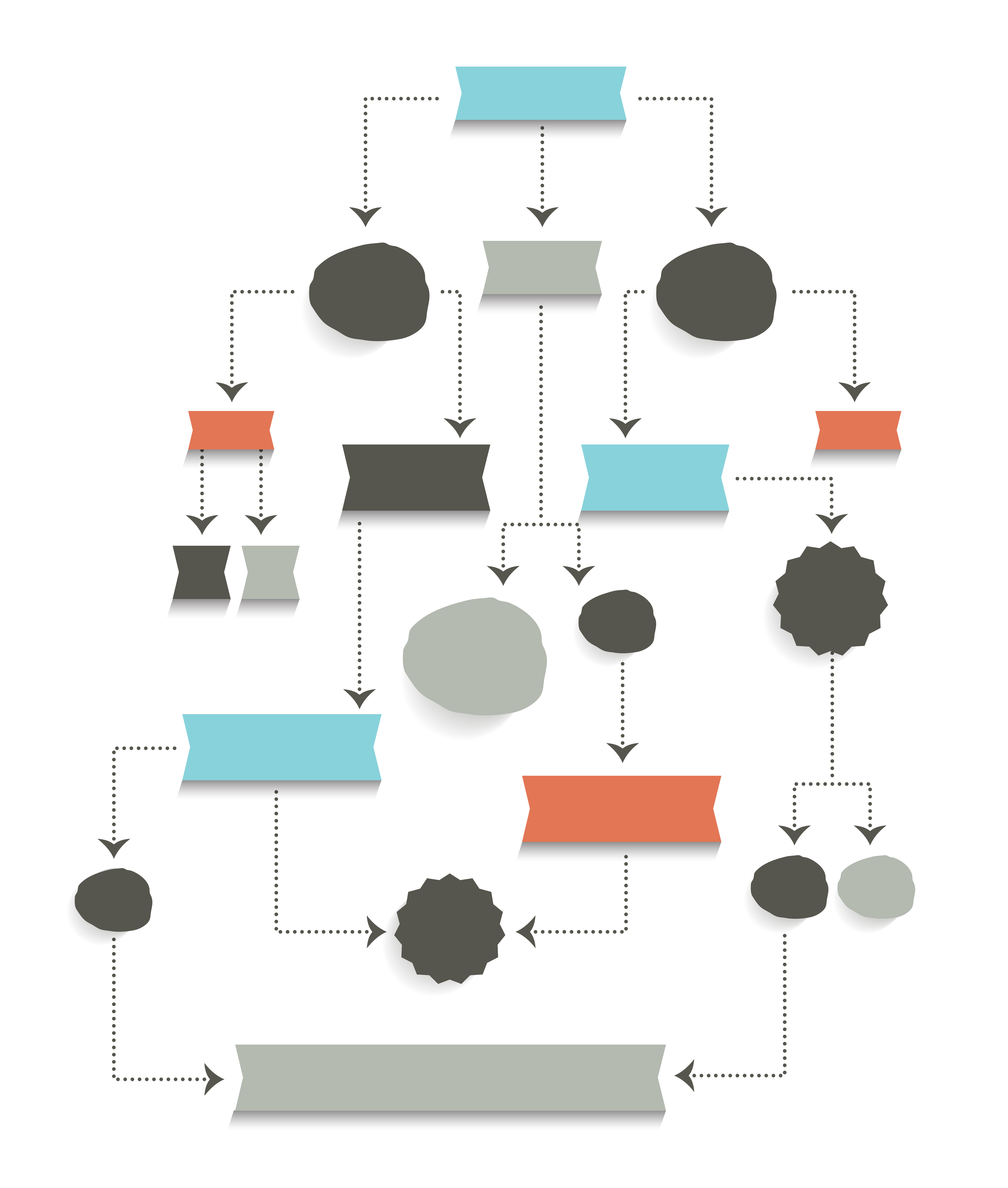 Multi-color illustration of a multi-step workflow within an organization.