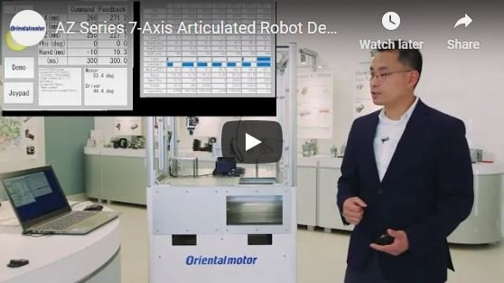 AZ Series stepper motors 7-axis articulated robot demo by Oriental Motor's engineering manager