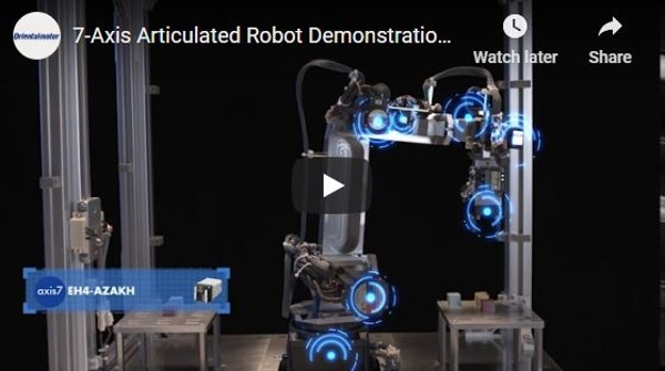 7-axis articulated robot demo with AlphaStep AZ series compact drivers, motors & actuators