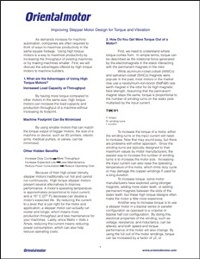 White paper: Improving Stepper Motor Design for Torque and Vibration