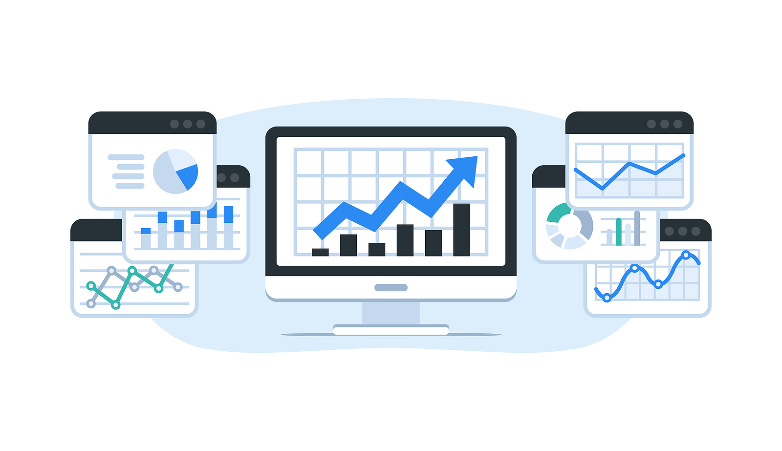 Computer browsers with graphs analyzing marketing results