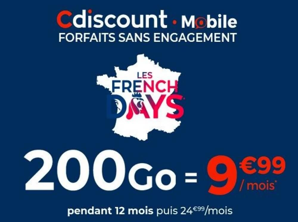 Forfait French Days Cdiscount : 200Go pour 9,99€/mois pendant 3 jours seulement