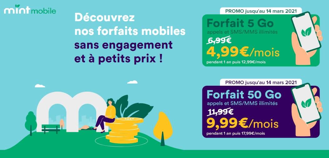 Découvrez Mint Mobile et ses forfaits en promo : 5Go pour 5€, 50 Go pour 10€