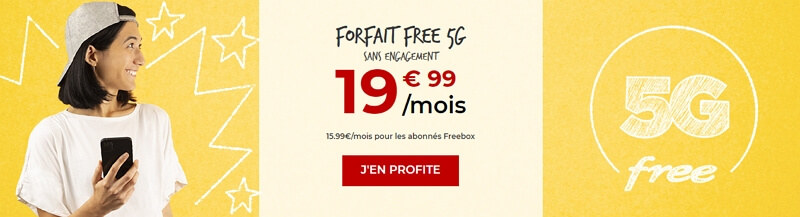 le forfait Free 5G à 19,99 euros par mois
