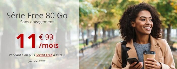 Forfait Free en promo en juillet 2020 : 11,99 euros par mois pour 80 Go