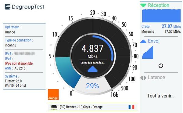Exemple d'un test de débit réalisé avec DegroupTest
