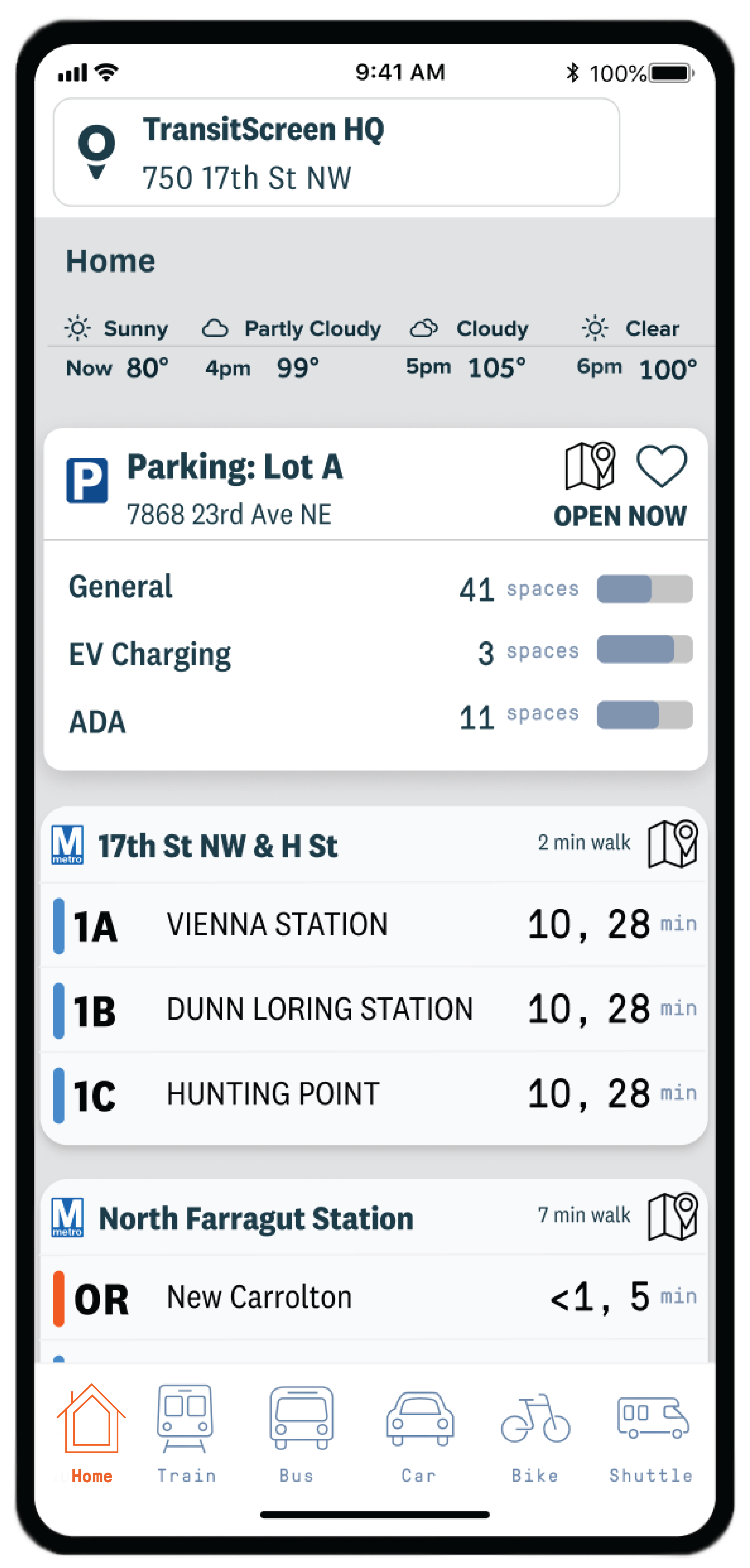 Screenshot of CityMotion's real-time parking feature
