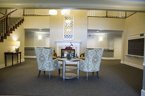 Care Suites Edina Lobby Fireplace