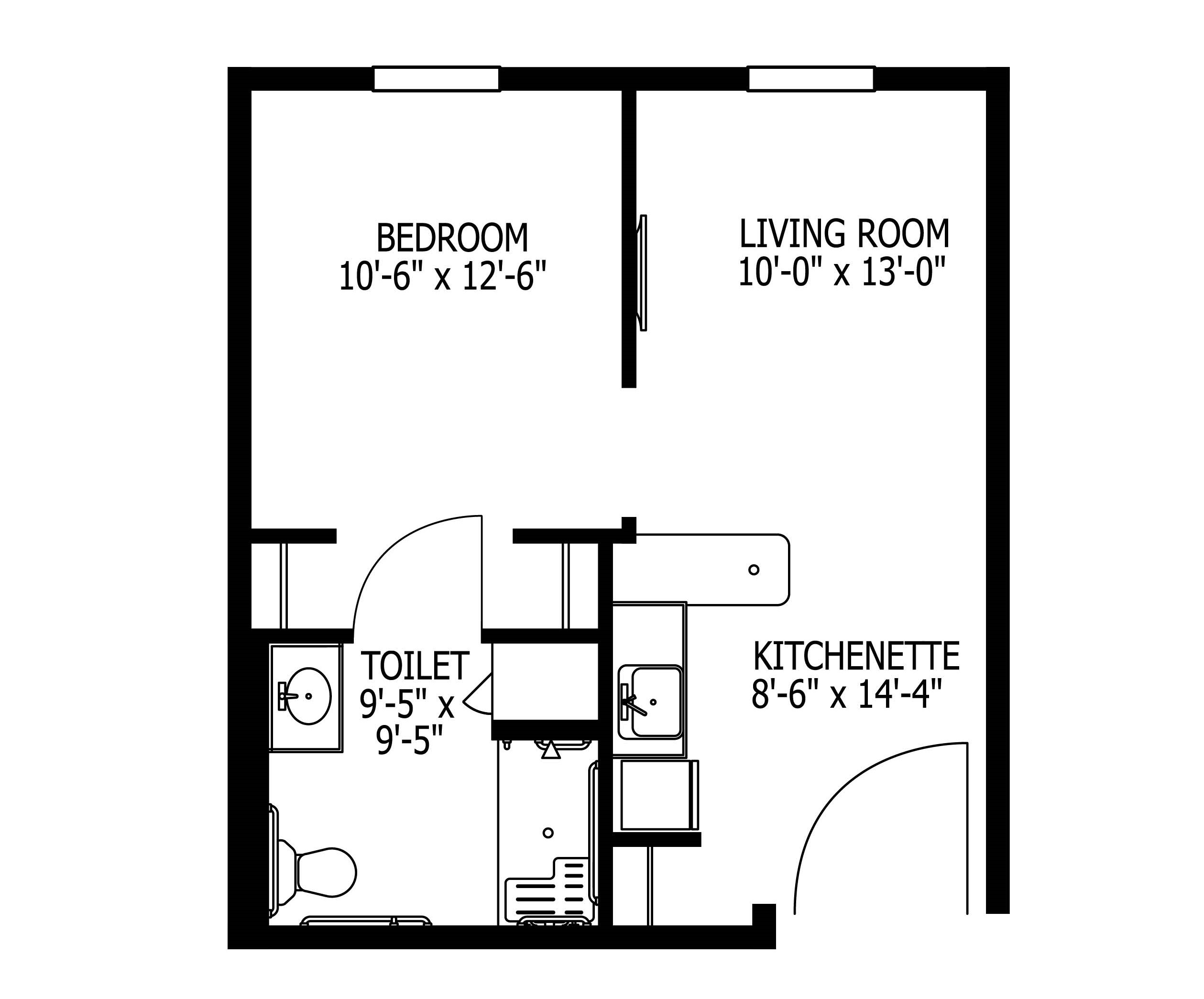 Memory care - 1 BR + kitchenette, 485 sq ft
