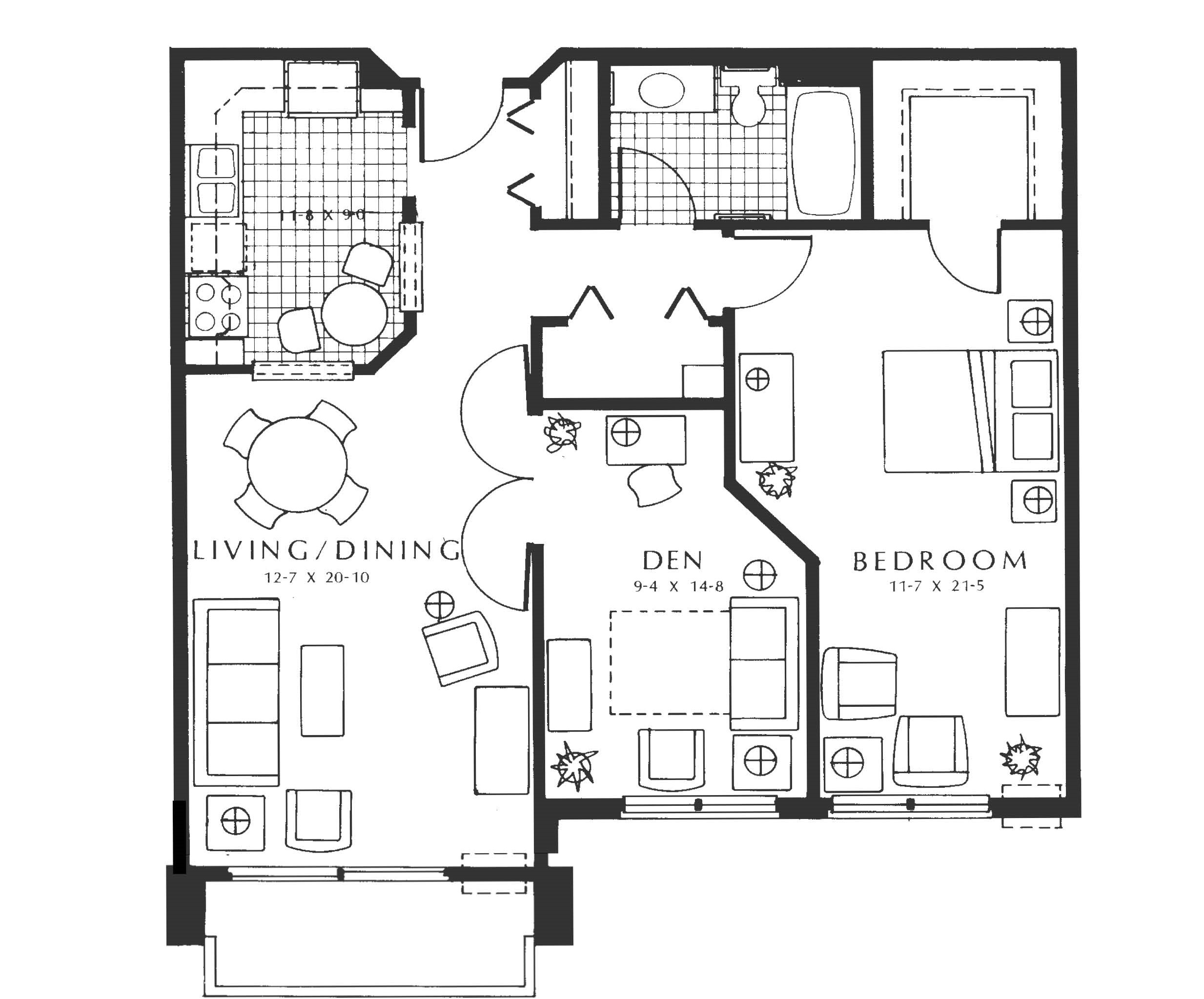 Unit B1 - Summit - 1 BR + den, 949 sq ft