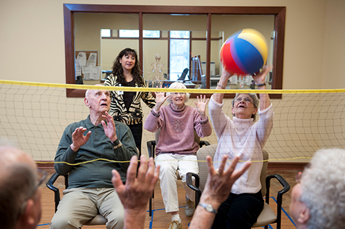 Westwood Ridge residents play volleyball