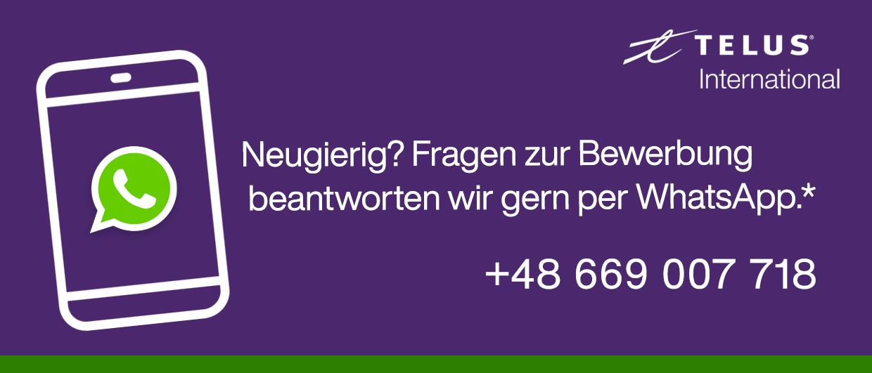 Kontaktiere uns per WhatsApp unter der Nummer: 48669007718