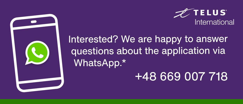 Contact us via WhatsApp: 48669007718
