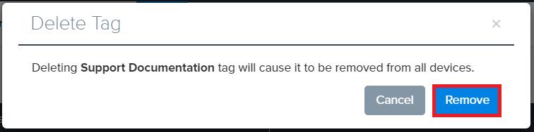 Confirmation deleting tag