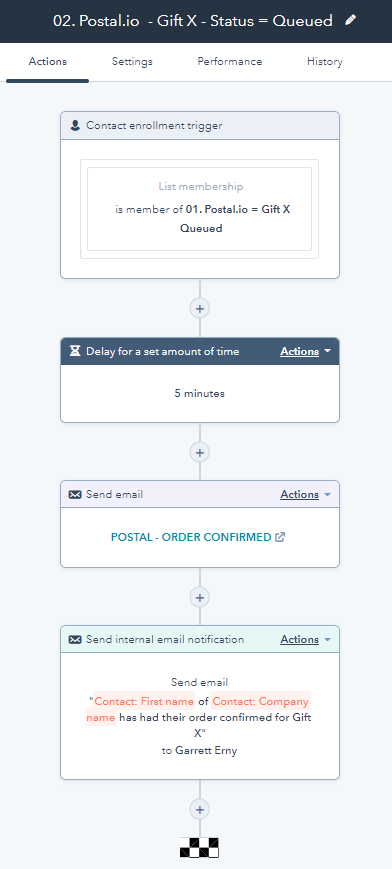Postal.io - Gift X - Status Queued WF