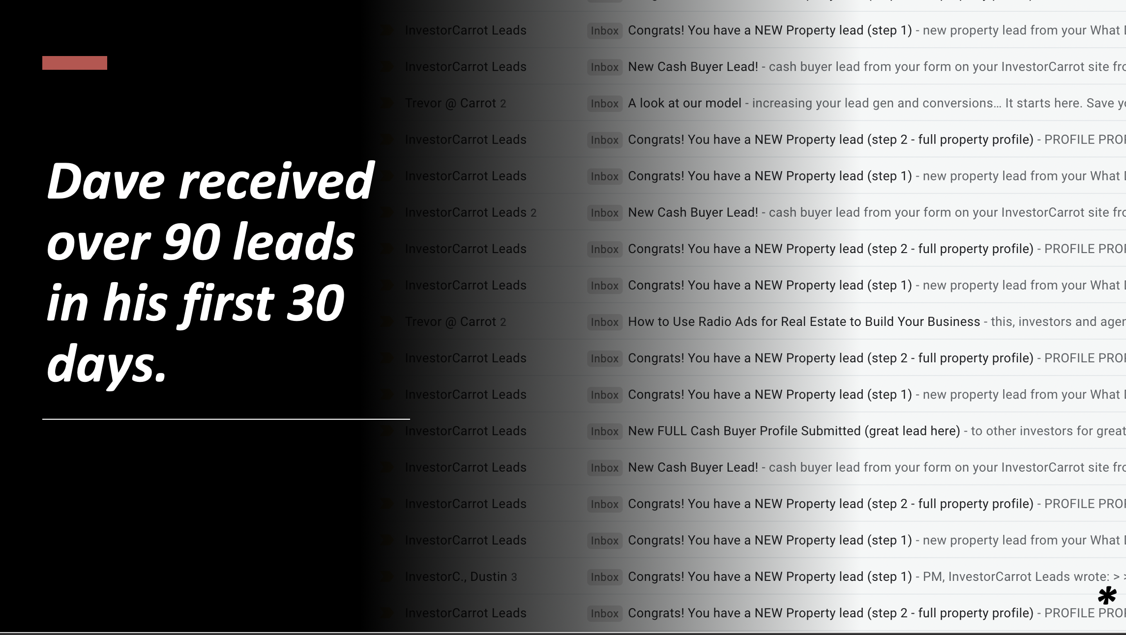 Dave received 90 Leads